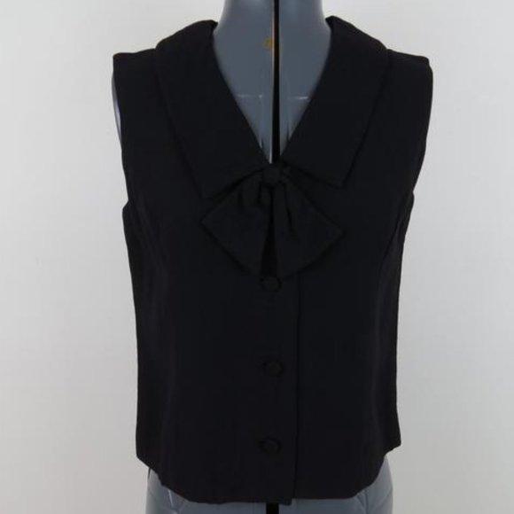 Vintage 1960s Black Bow CollarSleeveless Blouse